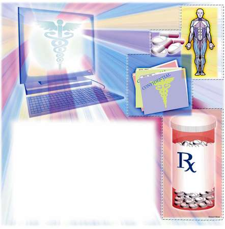Computer screen displaying a caduceus surrounded anatomic man, pills, confidential files and prescription drugs