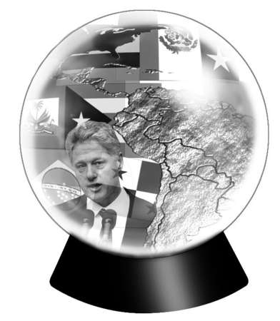 Crystal ball with images of Bill Clinton and Latin America inside