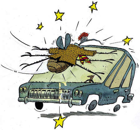 Cartoon caricature dressed in a jacket and tie being slammed against an automobile windshield