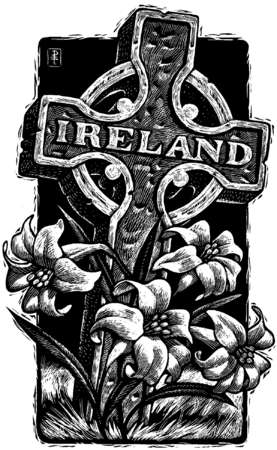 Tombstone with word 'Ireland' on it