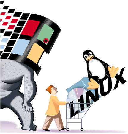Man pushing a shopping cart (filled with computer disks, Linux operating system and penguin, while a Microsoft Windows monster looms behind him
