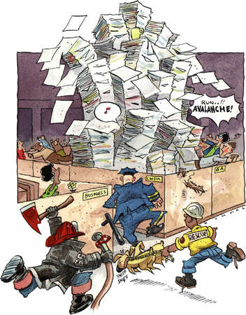Office cubicle with towering piles of paper ready to topple with fireman, policeman and rescue worker running to assist