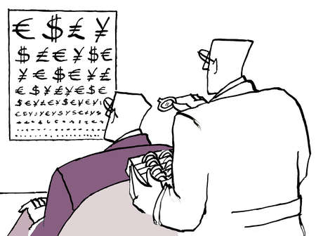 Businessman looking at eye chart covered in currency symbols