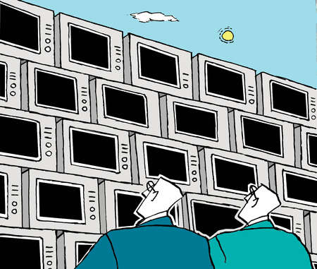 Businessmen looking up and stack of televisions