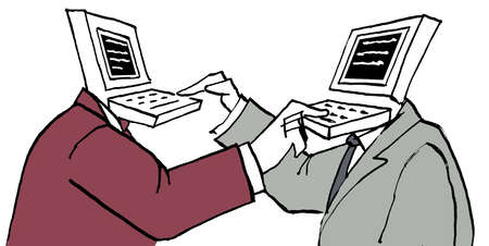 Businessmen with computer heads