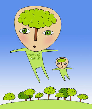Man and woman flying over trees