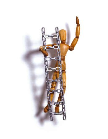 Wooden artist's model climbing ladder