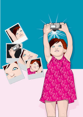 Girl taking self-portraits with camera