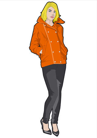 Woman with hands in coat pockets