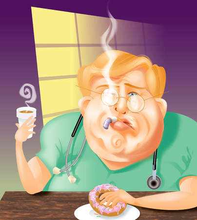 Unhealthy doctor smoking, drinking coffee and eating a doughnut