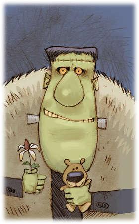 Frankenstein monster holding a flower and a teddy bear