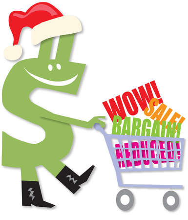 A green dollar sign wearing a red stocking cap and pushing a shopping cart with the words 'Wow!', 'Sale!',