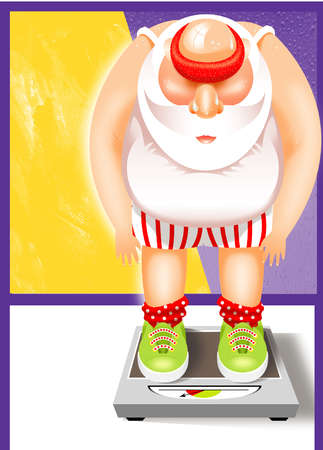 An overweight Santa weighing himself on a scale