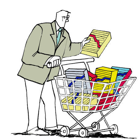 Businessman pushing shopping cart with finance charts