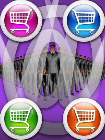 Businessmen in a row with shopping cart icons