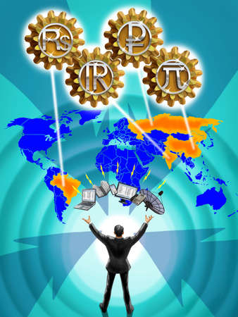 Businessman, communication devices, map and currency symbols