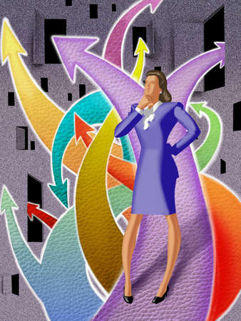 Businesswoman standing on diverging paths
