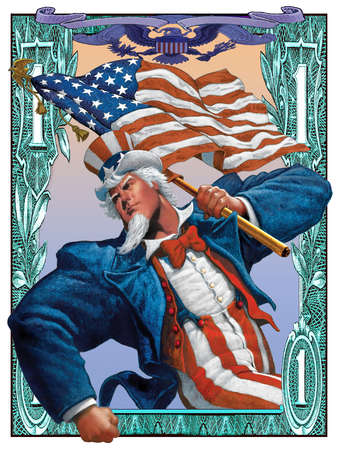 Uncle Sam in middle of dollar bill