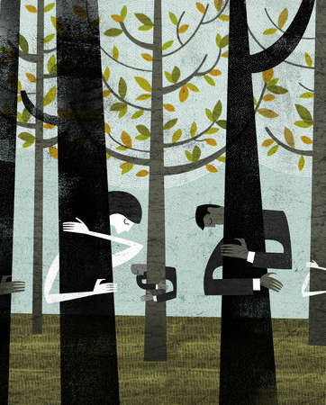 Business people hugging trees in forest