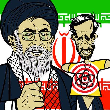 Ayatollah ali Khamenei with Mahmoud Ahmadinejad puppet