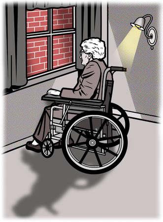 Elderly man in wheelchair looking out window