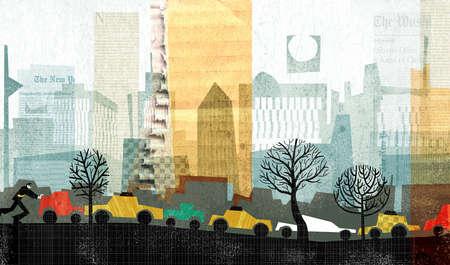 Cars driving in urban setting