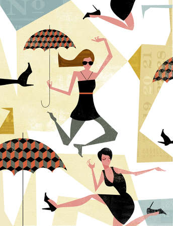 Women jumping with umbrellas