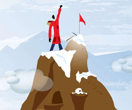 Mountain climber on top of mountain