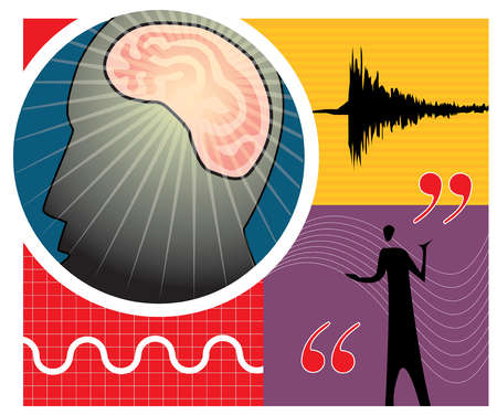 Montage of sound waves and a person's brain