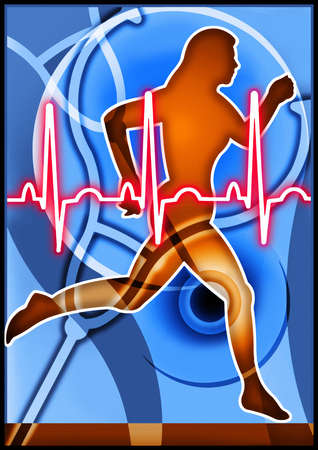 Woman running with heartbeat and stethoscope in background