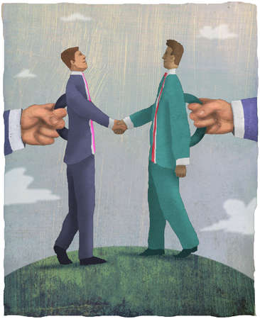 Businessmen holding smaller businessmen with handles on backs
