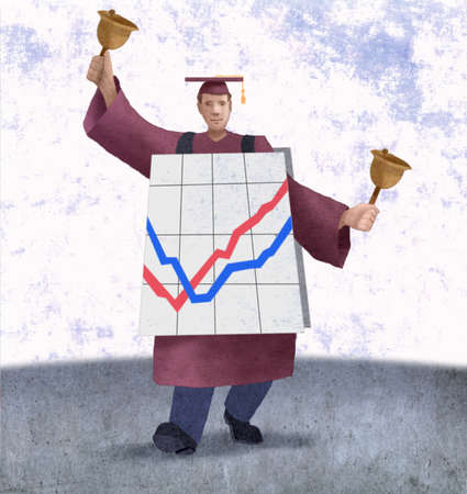 College graduate with bells and line graph sandwich board