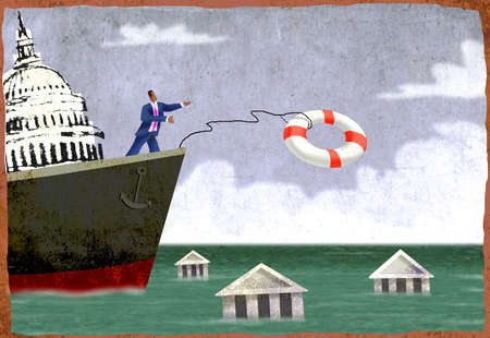 Businessman on ship throwing out life ring to drowning buildings
