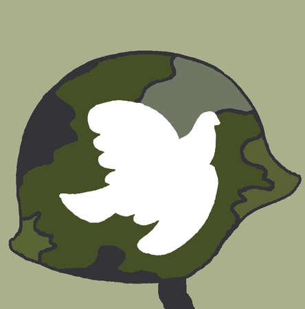 Dove of peace on camouflage helmet