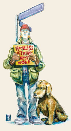 A homeless veteran standing by a street corner with a dog by his side and holding a sign saying 'Homeless'