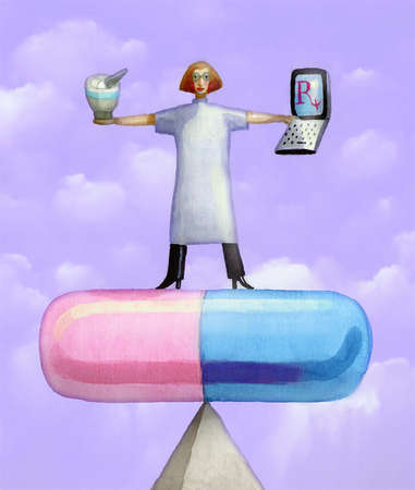 Pharmacist standing on capsule holding mortar, pestle and laptop