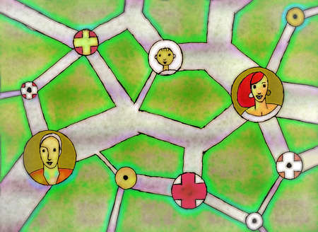 Interconnected roadways with icons of people at intersections