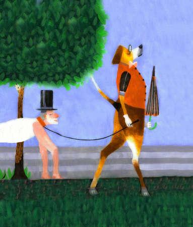 Dog walking man in top hat
