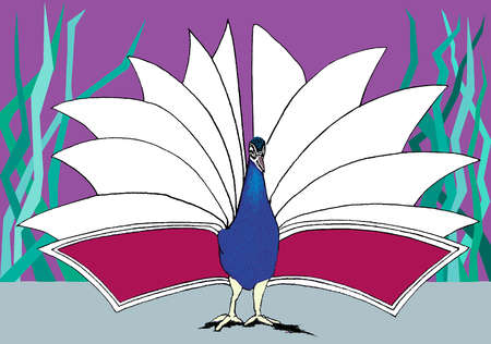 Peacock fanning his tail feathers in the shape of a book