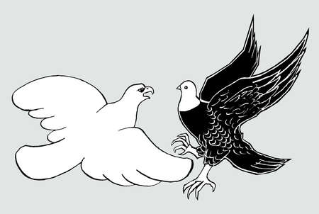 Dove with eagle's head and eagle with dove's head fighting