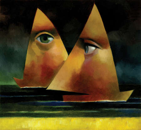 Faces covering sails on sailboats