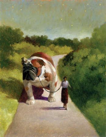 Woman walking enormous bulldog on path