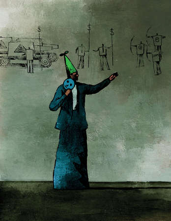 Businessman in dunce cap holding mask and pointing to business and finance images on wall