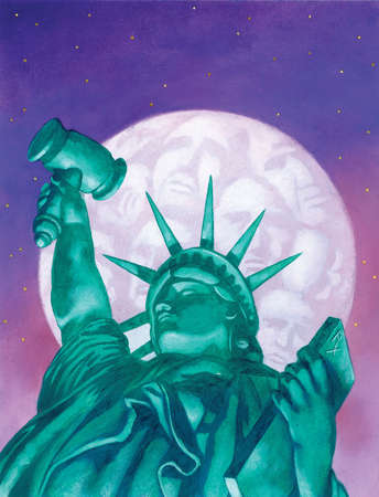 Statue of Liberty holding gavel under faces in full moon