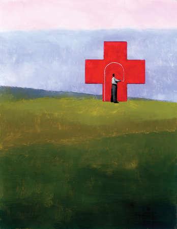 Businessman drawing doorway in red cross
