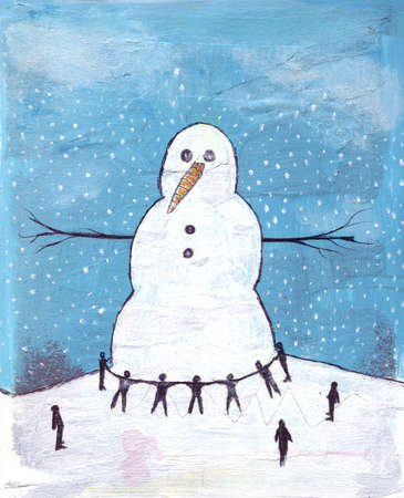 People encircling enormous snowman