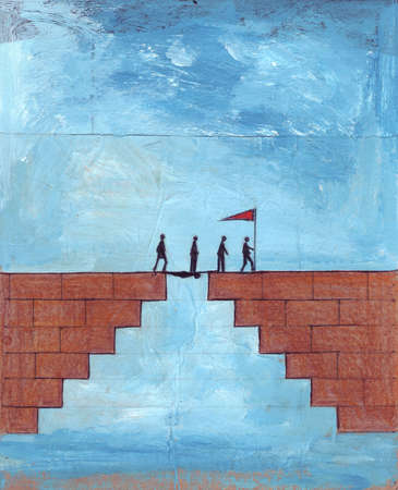 People with flag walking over man bridging gap in bricks