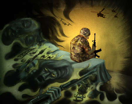A soldier sitting on the edge of his bed with a gun