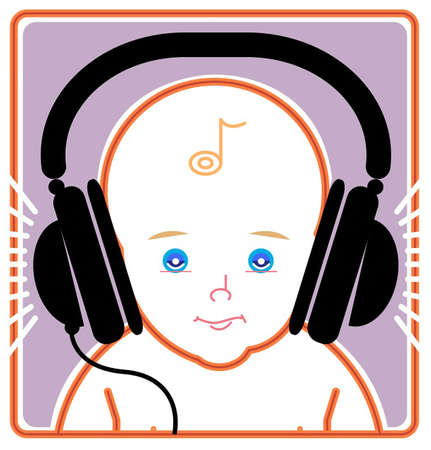 An infant listening to music via a headset,