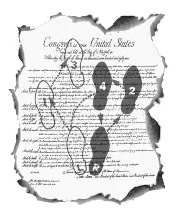 U.S. Bill of Rights with dance steps superimposed.